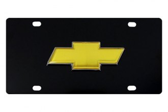 DWD® 310332 - 3D Gold Bowtie on Black Stainless Steel License Plate