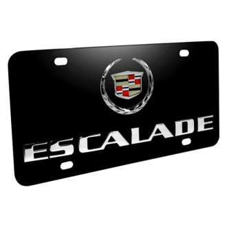 iPickimage® - 3D Escalade Double Logo on Black Stainless Steel License Plate