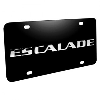 iPickimage® - 3D Escalade Logo on Black Stainless Steel License Plate