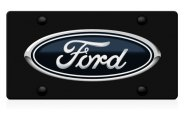 DWD® - 3D Ford Oval Logo on Black Stainless Steel License Plate