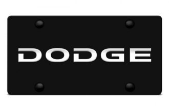DWD® - 3D Dodge Name on Black Stainless Steel License Plate