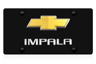DWD® - 3D Impala Logo on Black Stainless Steel License Plate with Gold Bowtie