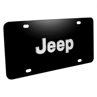 iPickimage® - 3D Jeep Logo on Black Stainless Steel License Plate