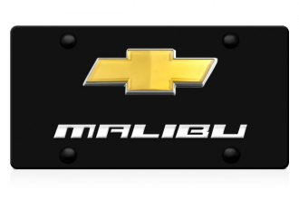 DWD® - 3D Malibu Logo on Black Stainless Steel License Plate with Gold Bowtie