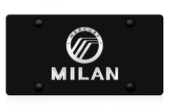 DWD® - 3D Milan Logo on Black Stainless Steel License Plate with Mercury Emblem