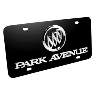 DWD® - 3D Park Avenue Logo on Black Stainless Steel License Plate with Buick Emblem