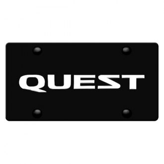 DWD 311841 - 3D Quest Logo on Black Stainless Steel License Plate