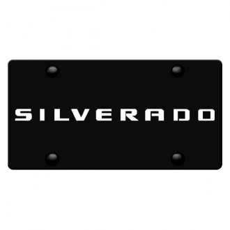 iPickimage® - 3D Silverado Logo on Black Stainless Steel License Plate