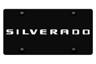 DWD® 311988 - 3D Silverado Logo on Black Stainless Steel License Plate