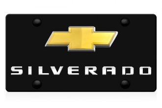 DWD® - 3D Silverado Logo on Black Stainless Steel License Plate with Gold Bowtie