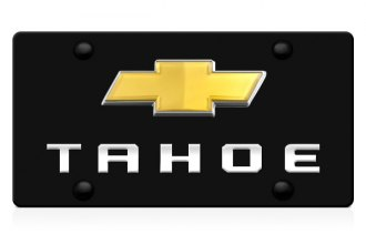 DWD® - 3D Tahoe Logo on Black Stainless Steel License Plate with Gold Bowtie