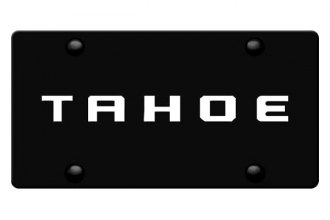 DWD® 312077 - 3D Tahoe Logo on Black Stainless Steel License Plate