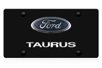 DWD® - 3D Taurus Logo on Black Stainless Steel License Plate with Ford Oval Emblem