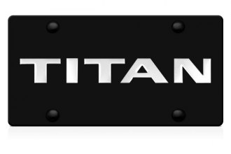 DWD® 312121 - 3D Titan Logo on Black Stainless Steel License Plate