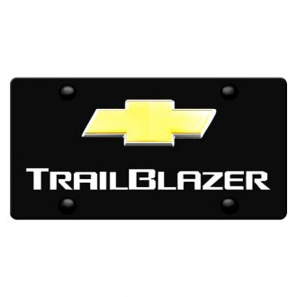 iPickimage® - 3D Trailblazer Logo on Black Stainless Steel License Plate with Gold Bowtie