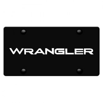 iPickimage® - 3D Wrangler Logo on Black Stainless Steel License Plate