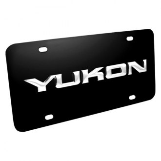 DWD 312190 - 3D Yukon Logo on Black Stainless Steel License Plate