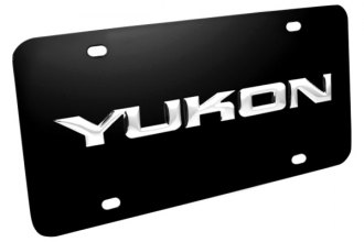 DWD® 312190 - 3D Yukon Logo on Black Stainless Steel License Plate