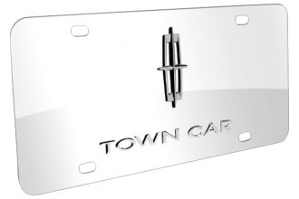 DWD® - 3D Town Car Logo on Chrome Stainless Steel License Plate with Lincoln Star Emblem