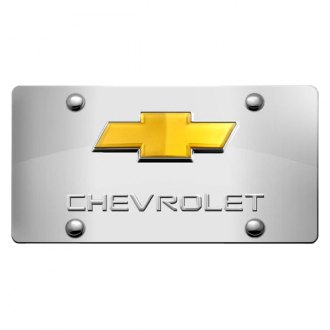 DWD® - 3D Chevy Logo on Chrome Stainless Steel License Plate with Gold Bowtie