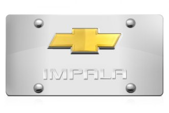 DWD® - 3D Impala Logo on Chrome Stainless Steel License Plate with Gold Bowtie