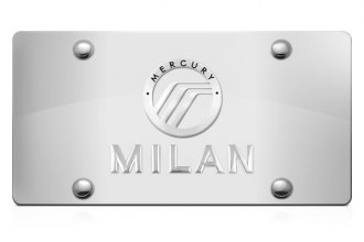 DWD® - 3D Milan Logo on Chrome Stainless Steel License Plate with Mercury Emblem