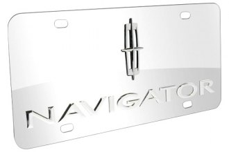 DWD® - 3D Navigator Logo on Chrome Stainless Steel License Plate with Lincoln Star Emblem