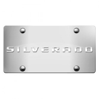 iPickimage® - 3D Silverado Logo on Chrome Stainless Steel License Plate
