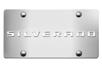 DWD® 312565 - 3D Silverado Logo on Chrome Stainless Steel License Plate