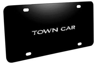 DWD® - 3D Town Car Logo on Black Stainless Steel License Plate