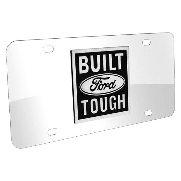 DWD® - 3D Built Ford Tough Logo on Chrome Stainless Steel License Plate