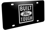 DWD� - 3D Built Ford Tough Logo on Black Stainless Steel License Plate