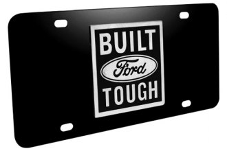 DWD® - 3D Built Ford Tough Logo on Black Stainless Steel License Plate