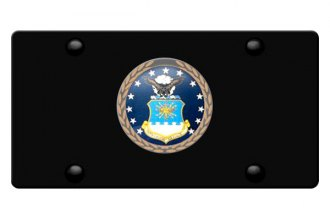 DWD® - 3D Air Force Logo on Black Stainless Steel License Plate