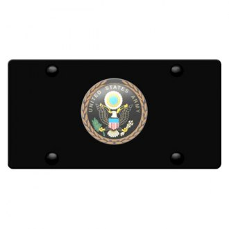 DWD® - 3D Army Logo on Black Stainless Steel License Plate