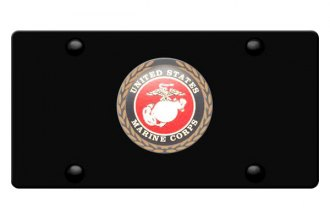 DWD® - 3D Marines Logo on Black Stainless Steel License Plate