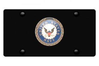 DWD® - 3D Navy Logo on Black Stainless Steel License Plate