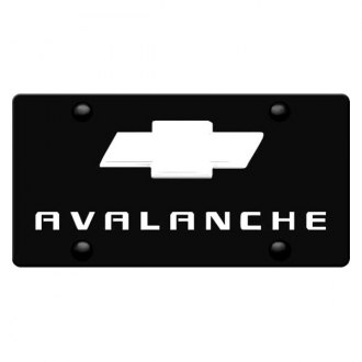 iPickimage® - 3D Avalanche Logo on Black Stainless Steel License Plate with Chrome Bowtie