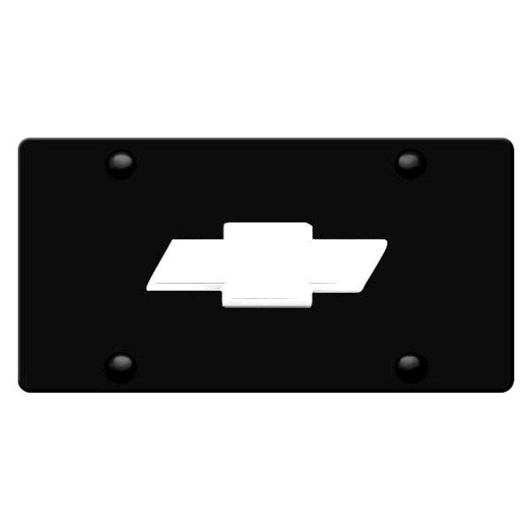 DWD® - 3D Chrome Bowtie on Black Stainless Steel License Plate