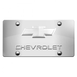 iPickimage® - 3D Chevy Logo on Chrome Stainless Steel License Plate with Chrome Bowtie