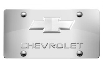 DWD® - 3D Chevy Logo on Chrome Stainless Steel License Plate with Chrome Bowtie