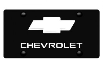 DWD® - 3D Chevy Logo on Black Stainless Steel License Plate with Chrome Bowtie