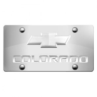 iPickimage® - 3D Colorado Logo on Chrome Stainless Steel License Plate with Chrome Bowtie