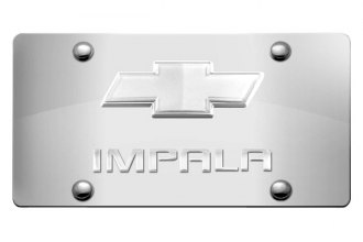 DWD® - 3D Impala Logo on Chrome Stainless Steel License Plate with Chrome Bowtie