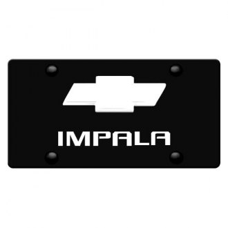 Image may not reflect your exact vehicle! DWD® - 3D Impala Logo on Black Stainless Steel License Plate with New Gold Bowtie