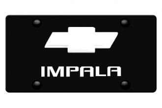 DWD® - 3D Impala Logo on Black Stainless Steel License Plate with Chrome Bowtie