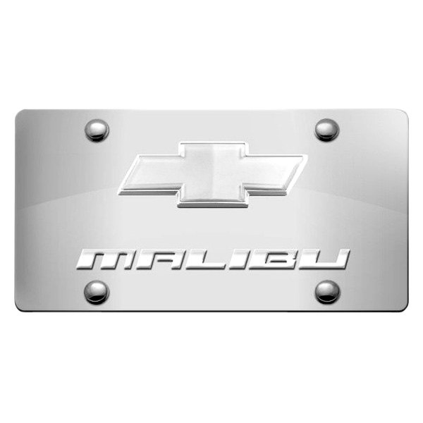 Image may not reflect your exact vehicle! DWD® - 3D Malibu Logo on Chrome Stainless Steel License Plate with New Gold Bowtie