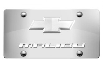 DWD® - 3D Malibu Logo on Chrome Stainless Steel License Plate with Chrome Bowtie