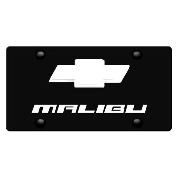 Image may not reflect your exact vehicle! DWD® - 3D Malibu Logo on Black Stainless Steel License Plate with New Gold Bowtie