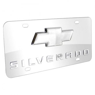 iPickimage® - 3D Silverado Logo on Chrome Stainless Steel License Plate with Chrome Bowtie